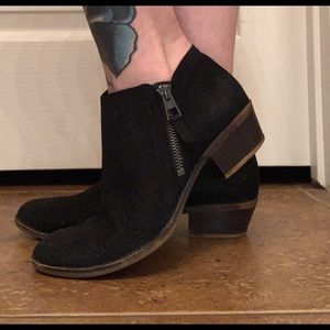 Women's Black Perforated Ankle Suede Boots Booties